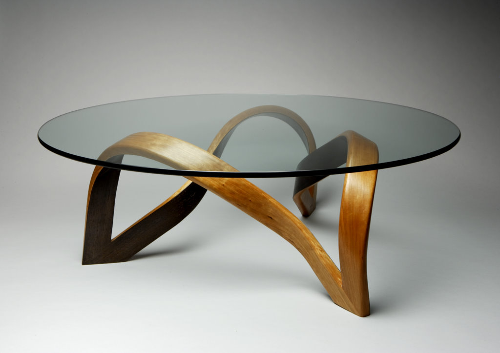 Charming Trefoil Coffee Table Cherry, Ebonized Interior And Glass